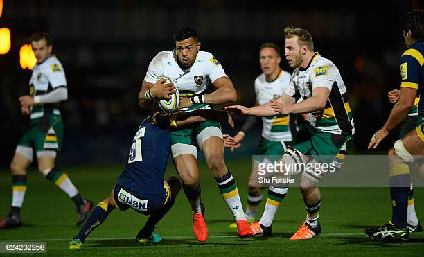 Saints player Luther Burrell makes a break during the Aviva Premiership match between Worcester Warriors and Northampton Saints at Sixways Stadium on...