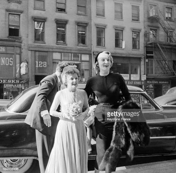 SaintVincentofPaul church in New York Marlene DIETRICH accompanied Edith PIAF and Jacques PILLS who had just gotten married