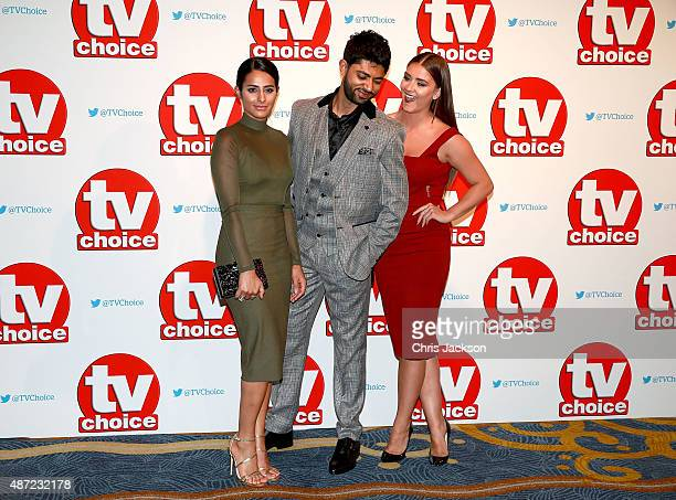 Sair Khan Qasim Akhtar and Brooke Vincent attend the TV Choice Awards 2015 at Hilton Park Lane on September 7 2015 in London England