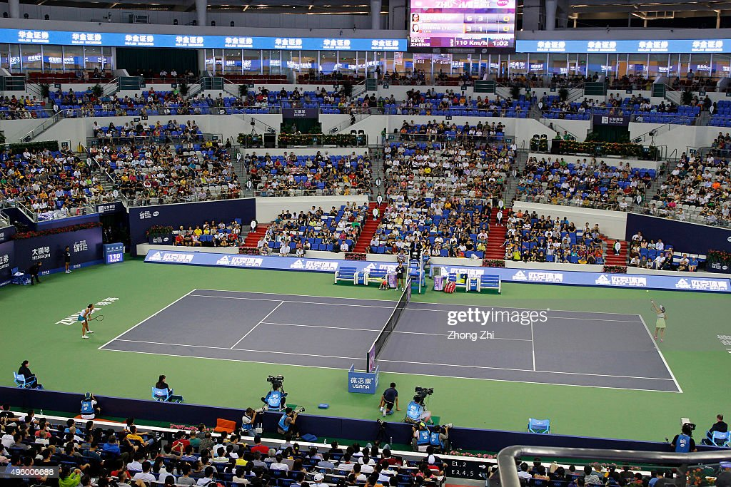 Saisai Zheng of China serves during the match against Madison Keys of USA on day 5 of Huajin Securities WTA Elite Trophy Zhuhai at Hengqin Tennis...