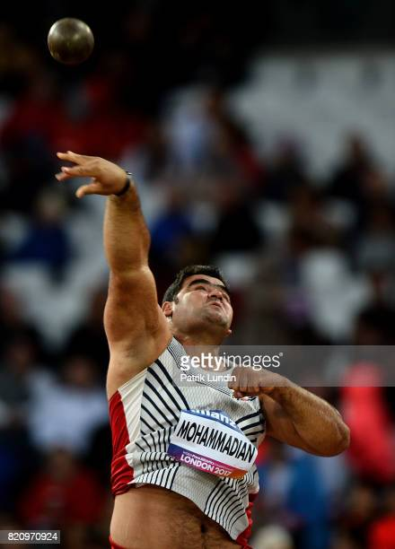 Sajad Mohammadian of Iran in action during the final of the mens shot put F42 on day nine of the IPC World ParaAthletics Championships 2017 at London...