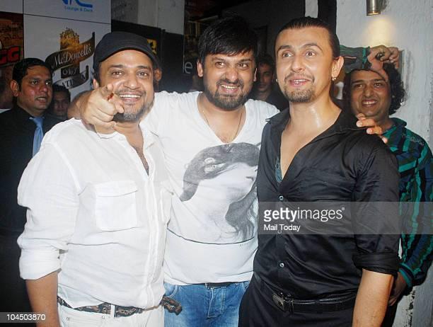 Sajid and Wajid Ali with Sonu Nigam at Dabangg success party in Mumbai on September 26 2010