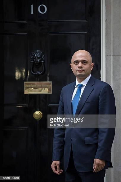 Sajid Javid financial secretary to the Treasury arrives at Downing Street after being appointed as culture secretary replacing Maria Miller on April...