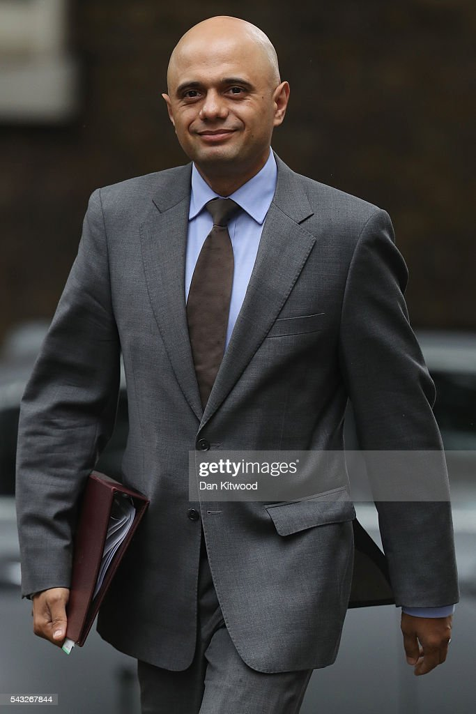 <a gi-track='captionPersonalityLinkClicked' href=/galleries/search?phrase=Sajid+Javid&family=editorial&specificpeople=10536168 ng-click='$event.stopPropagation()'>Sajid Javid</a>, Secretary of State for Business, Innovation and Skills arrives for a cabinet meeting at Downing Street on June 27, 2016 in London, England. British Prime Minister David Cameron is due to chair an emergency Cabinet meeting this morning, after Britain voted to leave the European Union. Chancellor George Osborne spoke at a press conference ahead of the start of financial trading and outlining how the Government will 'protect the national interest' after the UK voted to leave the EU.