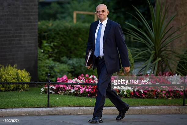 Sajid Javid Secretary of State for Business Innovation and Skills arrives at Downing Street on June 30 2015 in London England Prime Minister David...