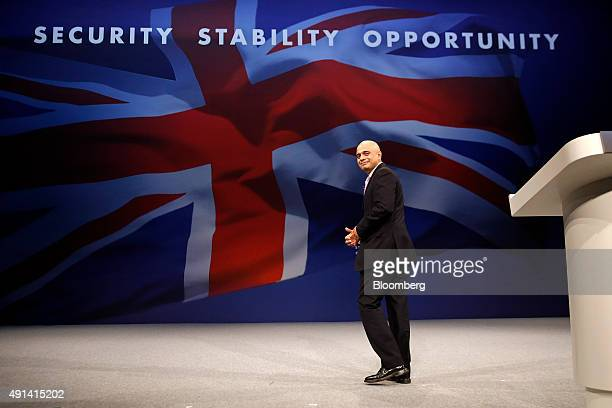Sajid Javid UK business secretary leaves after speaking at the Conservative Party's annual conference in Manchester UK on Monday Oct 5 2015 UK...