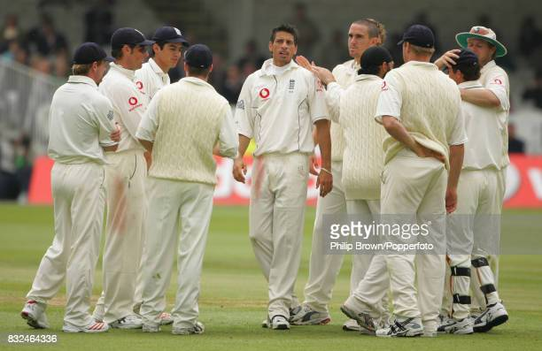 Sajid Mahmood of England is congratulated after taking the wicket of Sri Lanka's Thilan Samaraweera caught by wicketkeeper Geraint Jones in the 2nd...