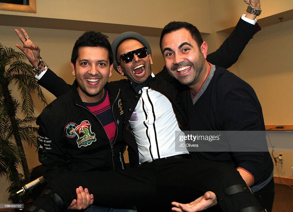 DJ Sak Noel, singer Sensato and radio personality <a gi-track='captionPersonalityLinkClicked' href=/galleries/search?phrase=Enrique+Santos+-+Televisiepersoonlijkheid&family=editorial&specificpeople=15214264 ng-click='$event.stopPropagation()'>Enrique Santos</a> attend the 13th annual Latin GRAMMY Awards Univision Radio Remotes held at the Mandalay Bay Events Center on November 14, 2012 in Las Vegas, Nevada.