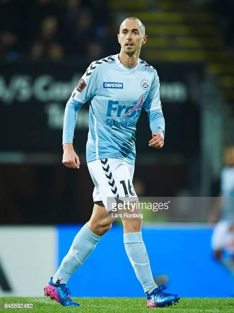 Sakari Mattila of Sonderjyske looks on during the Danish Alka Superliga match match between Sonderjyske and Brondby IF at Sydbank Park on February 26...