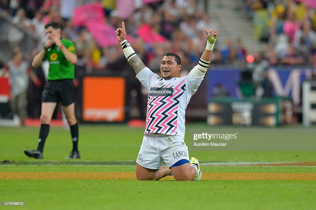 <a gi-track='captionPersonalityLinkClicked' href=/galleries/search?phrase=Sakaria+Taulafo&family=editorial&specificpeople=6532773 ng-click='$event.stopPropagation()'>Sakaria Taulafo</a> of Stade Francais reacts after winning the Top 14 final game between ASM Clermont Auvergne and Stade Francais at Stade de France on June 13, 2015 in Paris, France.