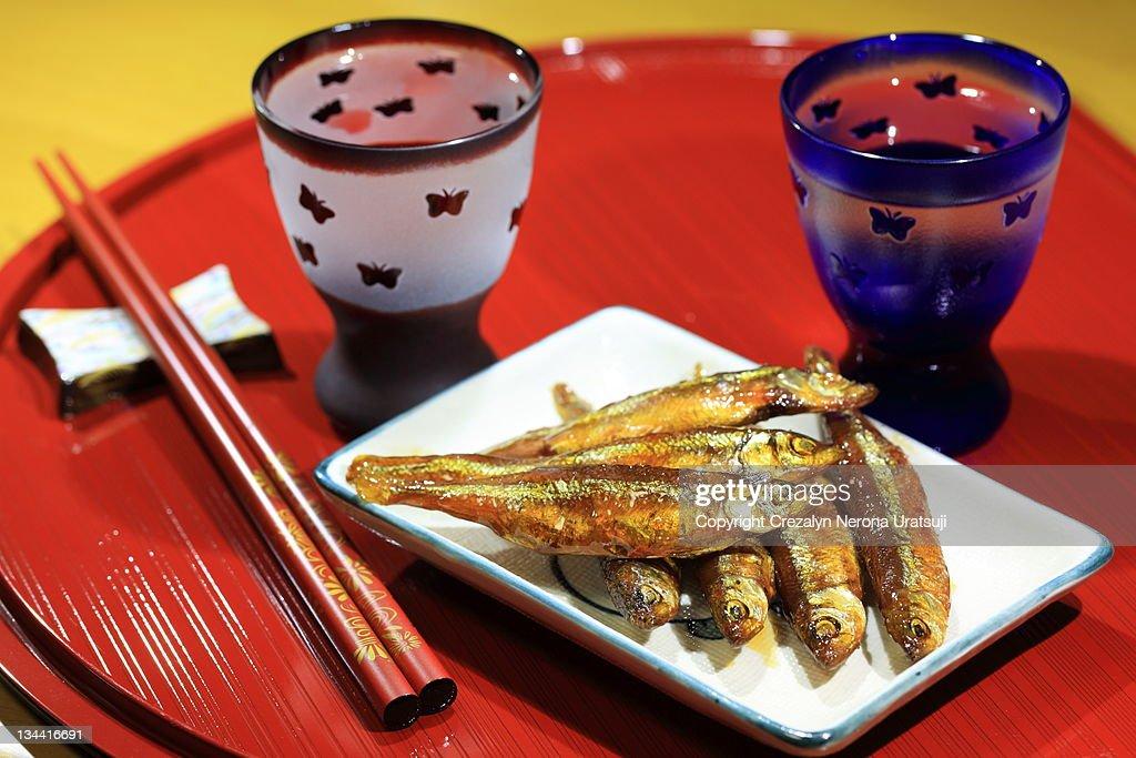 Sake and otsumami : Stock Photo