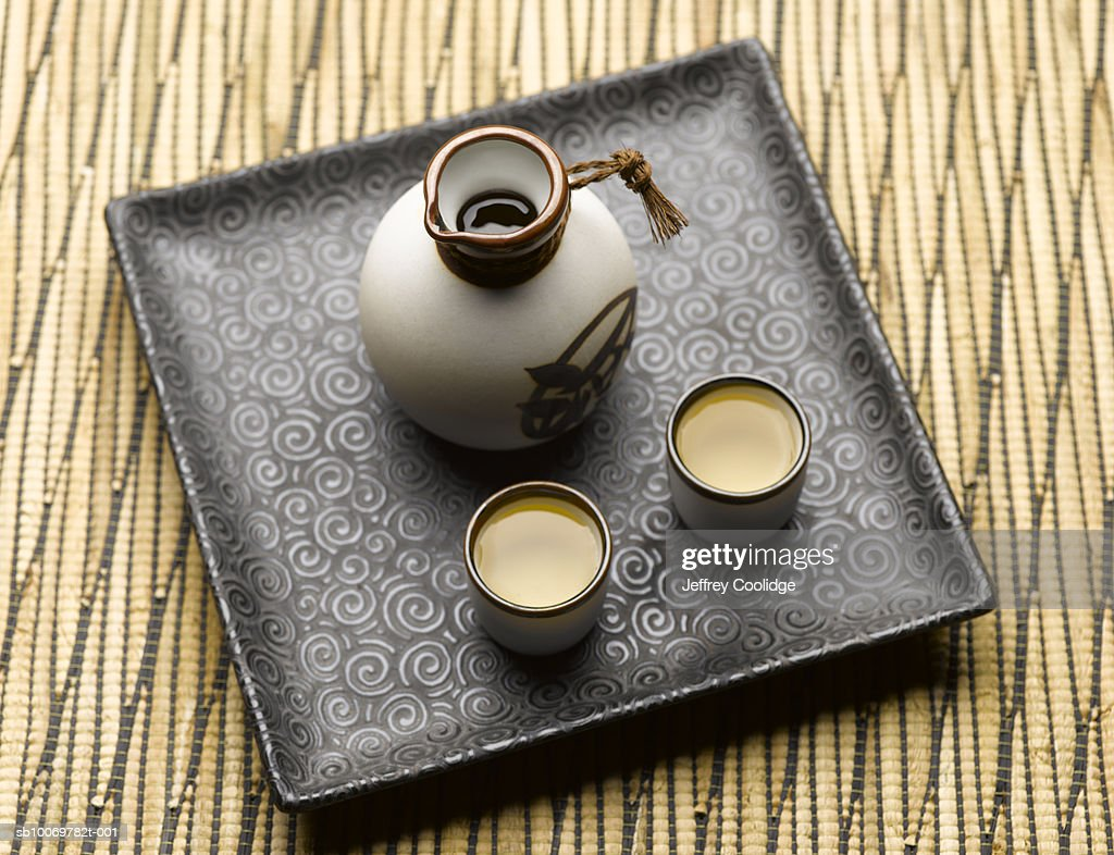 Sake set on tray, elevated view