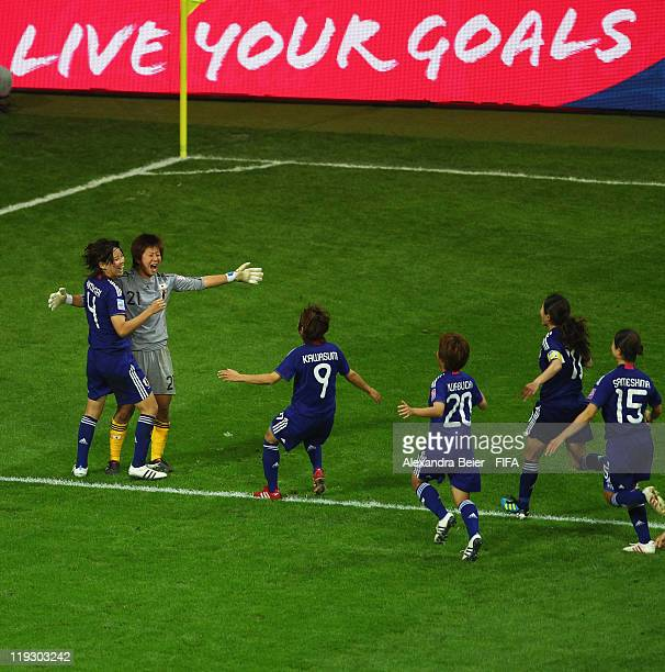 Saki Kumagai goalkeeper Ayumi Kaihori Nahomi Kawasumi Mana Iwabuchi Homare Sawa and Aya Sameshima of Japan celebrate their victory of the FIFA...