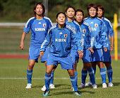 Saki Kumagai Homare Sawa Aya Sameshima Azusa Iwashimizu Mizuho Sakaguchi and Kozue Ando of Japan attend during the Japan Women's national team...