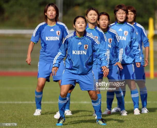 Saki Kumagai Homare Sawa Aya Sameshima Azusa Iwashimizu Mizuho Sakaguchi and Kozue Ando of Japan attend during the Japan Women's national team...