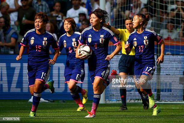 Saki Kumagai of Japan celebrates a USA own goal in the second half in the FIFA Women's World Cup Canada 2015 Final at BC Place Stadium on July 5 2015...