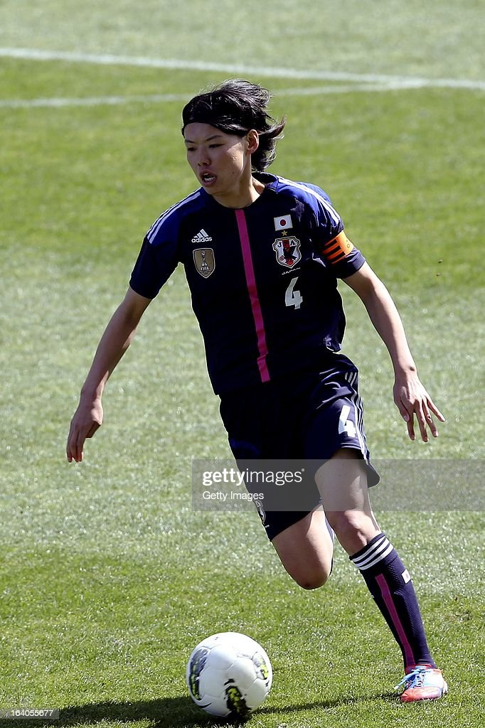 <a gi-track='captionPersonalityLinkClicked' href=/galleries/search?phrase=Saki+Kumagai&family=editorial&specificpeople=5617206 ng-click='$event.stopPropagation()'>Saki Kumagai</a> of Japan during the Algarve Cup 2013 fifth place match at the Estadio Algarve on March 13, 2013 in Faro, Portugal.