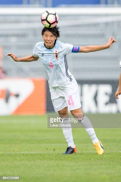 Saki Kumagai of Japan heads the ball during the Women's International Friendly match between Netherlands and Japan at Rat Verlegh Stadion on June 9...