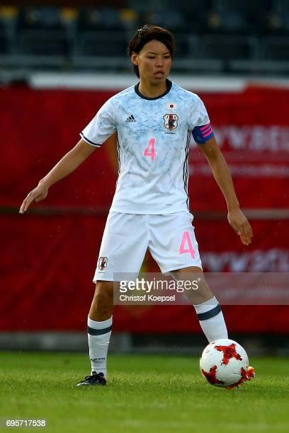 Saki Kumagai of Japan runs with the ball during the Women's International Friendly match between Belgium and Japan at Stadium Den Dreef on June 13...