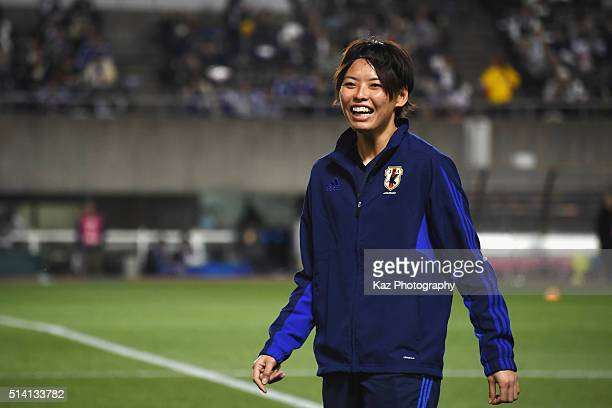Saki Kumagai of Japan warms up prior to the AFC Women's Olympic Final Qualification Round match between Vietnam and Japan at Kincho Stadium on March...