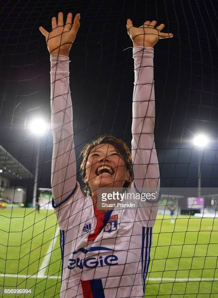 Saki Kumagai of Lyon celebrates at the end of the UEFA Women's Champions League Quater Final first leg match between VfL Wolfsburg and Olympique Lyon...
