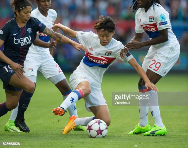 Saki Kumagai of Olympique Lyonnais and Cristiane of Paris Saint Germain in action during the UEFA Women's Champions League Final between Olympique...
