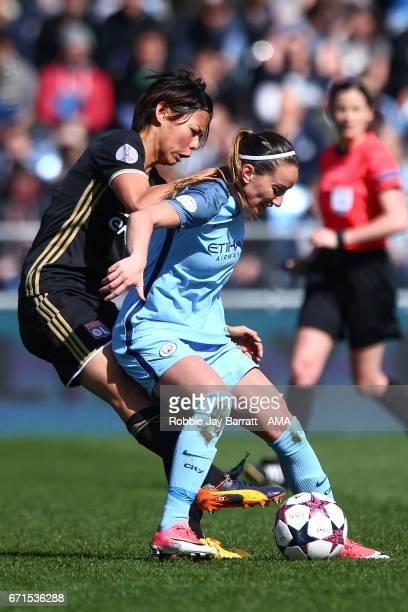 Saki Kumagai of Olympique Lyonnais and Kosovare Asllani of Manchester City Women during the UEFA Women's Champions League semi final first leg match...