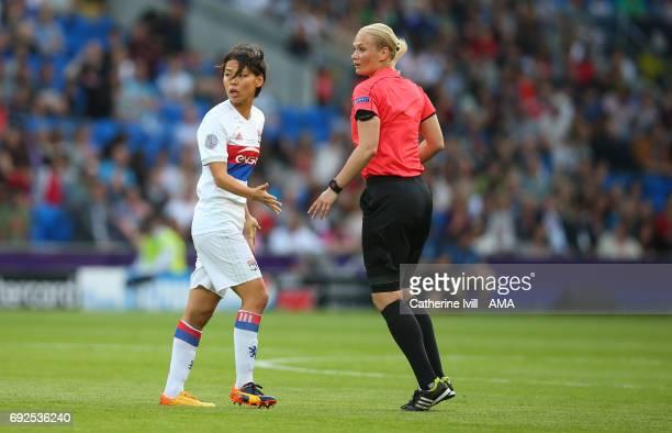 Saki Kumagai of Olympique Lyonnais and Referee Bibiana Steinhaus during the UEFA Women's Champions League Final match between Lyon and Paris Saint...