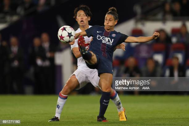 Saki Kumagai of Olympique Lyonnais and Veronica Boquete of PSG during the UEFA Women's Champions League Final between Lyon and Paris Saint Germain on...