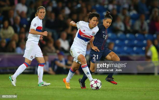 Saki Kumagai of Olympique Lyonnais and Veronica Boquete of PSG during the UEFA Women's Champions League Final match between Lyon and Paris Saint...