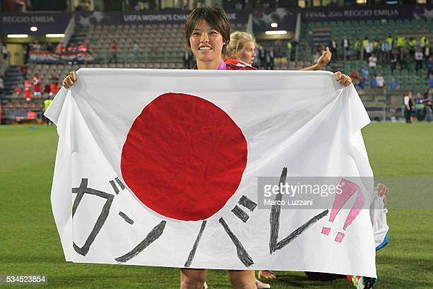 Saki Kumagai of Olympique Lyonnais celebrates a victory at the end of the UEFA Women's Champions League Final VfL Wolfsburg and Olympique Lyonnais...