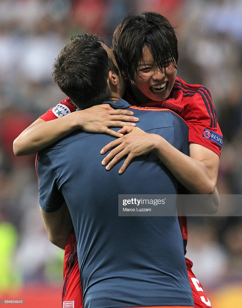 Saki Kumagai of Olympique Lyonnais celebrates atthe end of the UEFA Women's Champions League Final VfL Wolfsburg and Olympique Lyonnais between at Mapei Stadium - Citta' del Tricolore on May 26, 2016 in Reggio nell'Emilia, Italy.