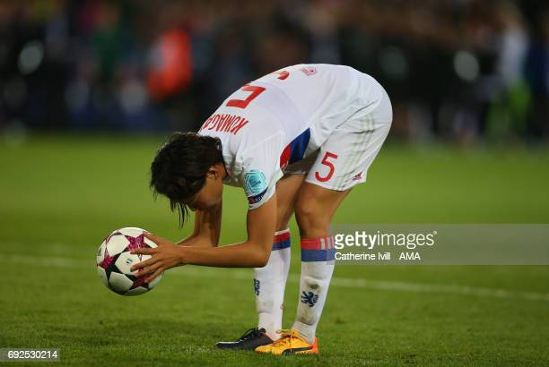 Saki Kumagai of Olympique Lyonnais during the UEFA Women's Champions League Final match between Lyon and Paris Saint Germain at Cardiff City Stadium...