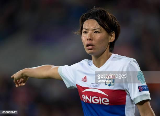 Saki Kumagai of Olympique Lyonnais during the UEFA Women's Champions League Final between Olympique Lyonnais and Paris St Germain at the Cardiff City...