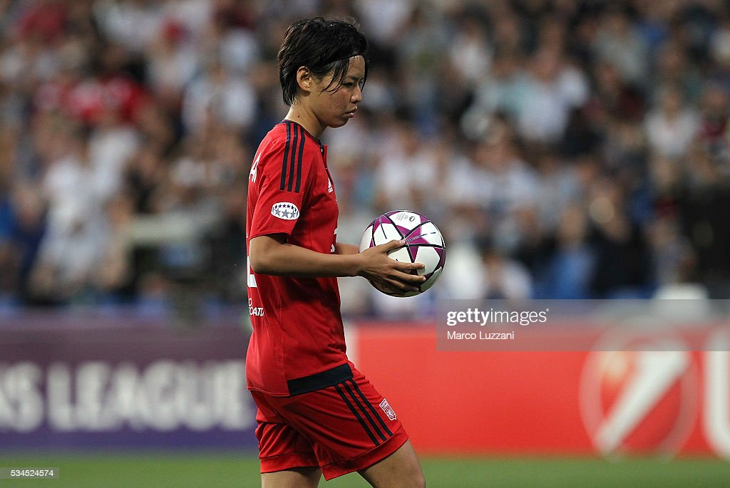 <a gi-track='captionPersonalityLinkClicked' href=/galleries/search?phrase=Saki+Kumagai&family=editorial&specificpeople=5617206 ng-click='$event.stopPropagation()'>Saki Kumagai</a> of Olympique Lyonnais from the penalty spo during the UEFA Women's Champions League Final VfL Wolfsburg and Olympique Lyonnais between at Mapei Stadium - Citta' del Tricolore on May 26, 2016 in Reggio nell'Emilia, Italy.
