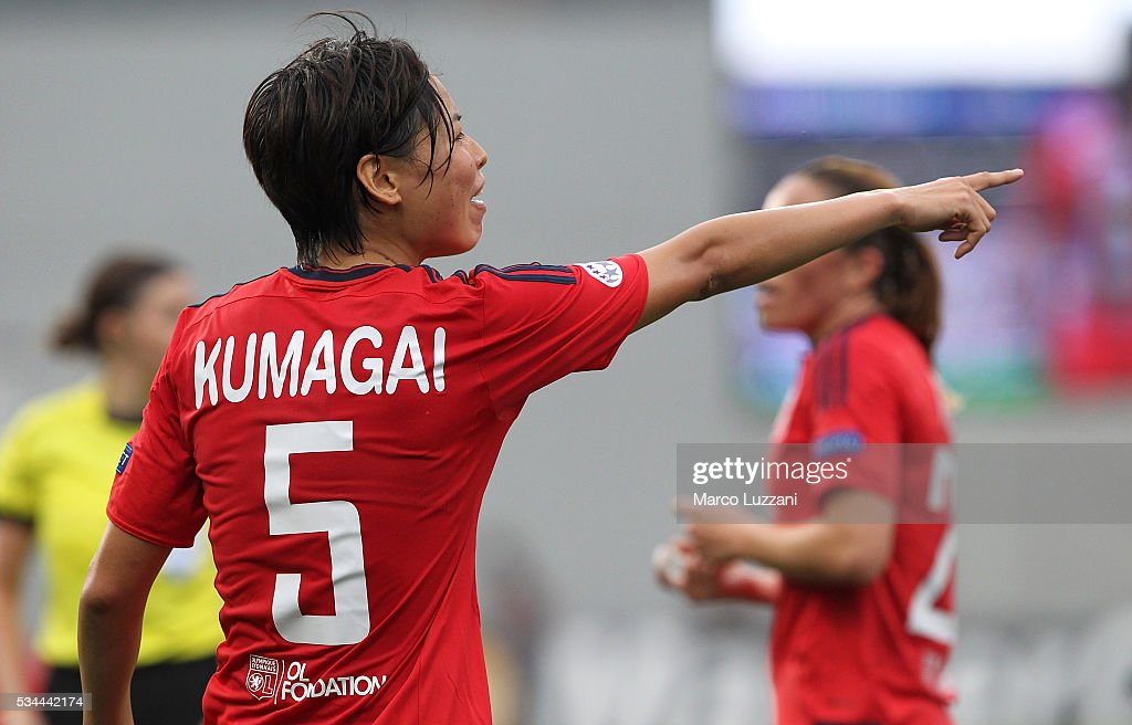 <a gi-track='captionPersonalityLinkClicked' href=/galleries/search?phrase=Saki+Kumagai&family=editorial&specificpeople=5617206 ng-click='$event.stopPropagation()'>Saki Kumagai</a> of Olympique Lyonnais gestures during the UEFA Women's Champions League Final VfL Wolfsburg and Olympique Lyonnais between at Mapei Stadium - Citta' del Tricolore on May 26, 2016 in Reggio nell'Emilia, Italy.