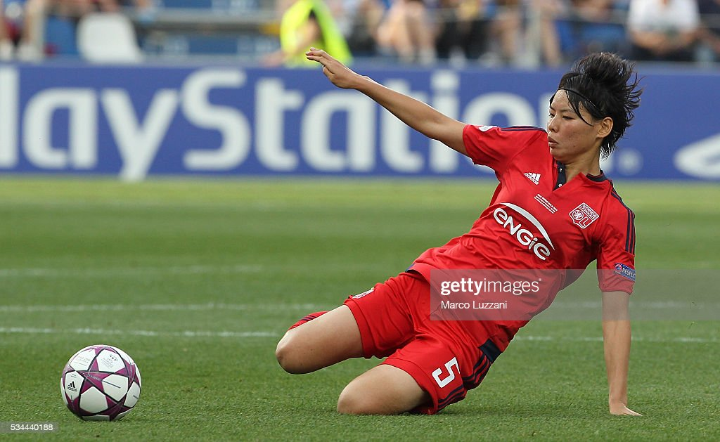 <a gi-track='captionPersonalityLinkClicked' href=/galleries/search?phrase=Saki+Kumagai&family=editorial&specificpeople=5617206 ng-click='$event.stopPropagation()'>Saki Kumagai</a> of Olympique Lyonnais in action during the UEFA Women's Champions League Final VfL Wolfsburg and Olympique Lyonnais between at Mapei Stadium - Citta' del Tricolore on May 26, 2016 in Reggio nell'Emilia, Italy.