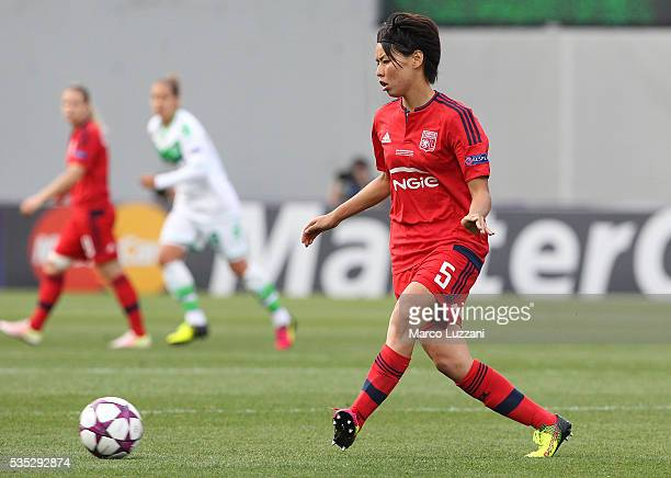 Saki Kumagai of Olympique Lyonnais in action during the UEFA Women's Champions League Final VfL Wolfsburg and Olympique Lyonnais between at Mapei...