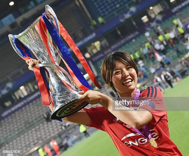 Saki Kumagai of Olympique Lyonnais lifts the winners trophy after UEFA Women's Champions League Final between VfL Wolfsburg v Olympique Lyonnais at...