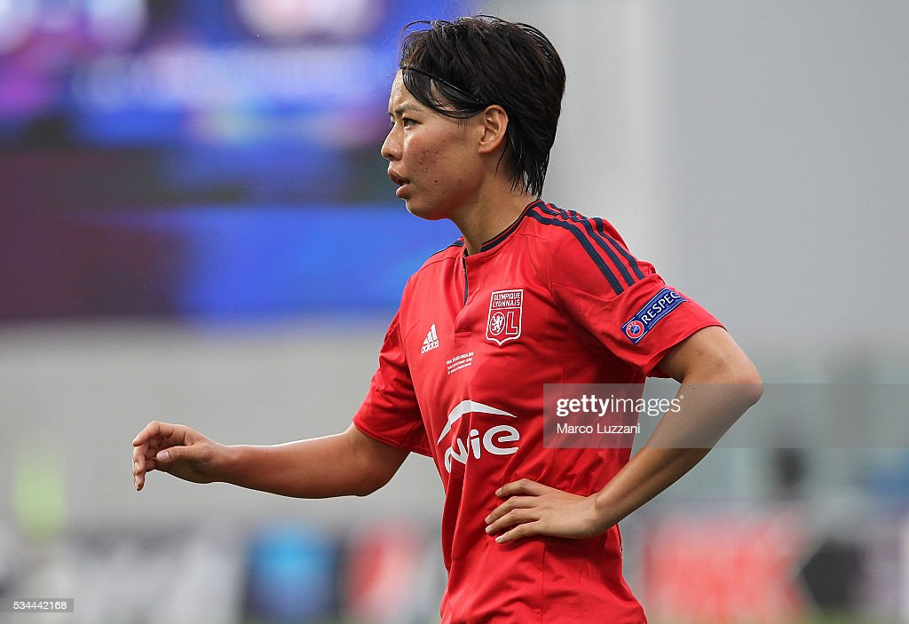 <a gi-track='captionPersonalityLinkClicked' href=/galleries/search?phrase=Saki+Kumagai&family=editorial&specificpeople=5617206 ng-click='$event.stopPropagation()'>Saki Kumagai</a> of Olympique Lyonnais looks on during the UEFA Women's Champions League Final VfL Wolfsburg and Olympique Lyonnais between at Mapei Stadium - Citta' del Tricolore on May 26, 2016 in Reggio nell'Emilia, Italy.