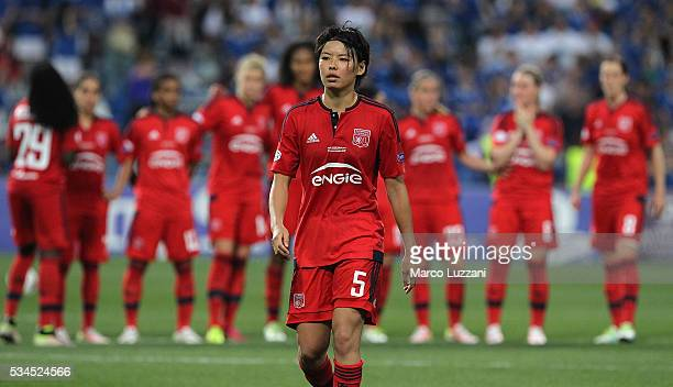 Saki Kumagai of Olympique Lyonnais looks on during the UEFA Women's Champions League Final VfL Wolfsburg and Olympique Lyonnais between at Mapei...