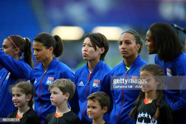 Saki Kumagai of Olympique Lyonnais stands in the line up during the UEFA Women's Champions League Final match between Lyon and Paris Saint Germain at...