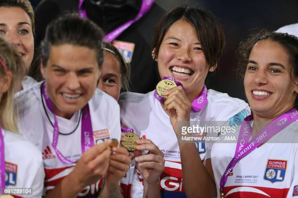 Saki Kumagai of Olympique Lyonnais with her winners medal after the UEFA Women's Champions League Final between Lyon and Paris Saint Germain on June...