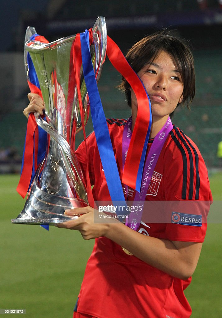 Saki Kumagai of Olympique Lyonnais with the trophy at the end of the UEFA Women's Champions League Final VfL Wolfsburg and Olympique Lyonnais between at Mapei Stadium - Citta' del Tricolore on May 26, 2016 in Reggio nell'Emilia, Italy.