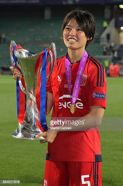 Saki Kumagai of Olympique Lyonnais with the trophy at the end of the UEFA Women's Champions League Final VfL Wolfsburg and Olympique Lyonnais between...
