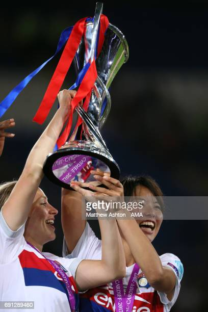 Saki Kumagai of Olympique Lyonnais with the winners trophy after the UEFA Women's Champions League Final between Lyon and Paris Saint Germain on June...
