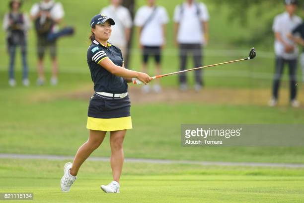 Saki Nagamine of Japan hits her second shot on the 1st hole during the final round of the Century 21 Ladies Golf Tournament 2017 at the Seta Golf...