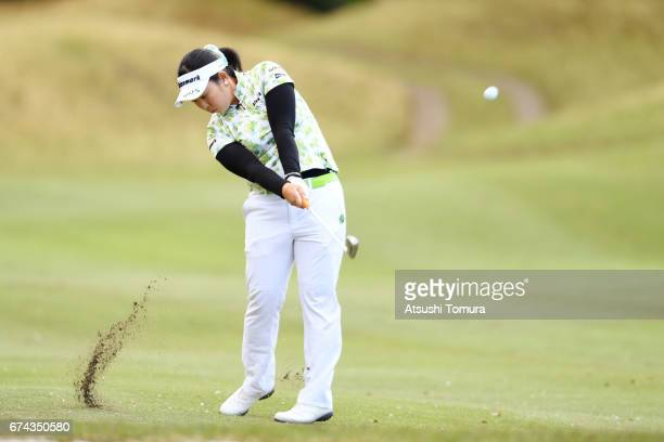 Saki Takeo of Japan hits her second shot on the 3rd hole during the first round of the CyberAgent Ladies Golf Tournament at the Grand Fields Country...
