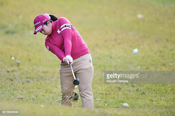 Saki Takeo of Japan hits her second shot on the 8th hole during the second round of the Itoen Ladies Golf Tournament 2016 at the Great Island Club on...