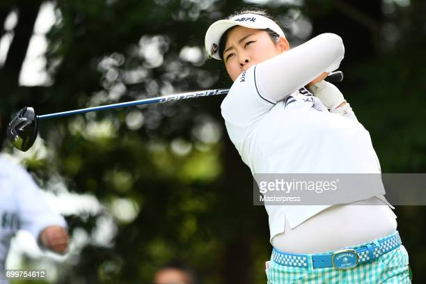 Saki Takeo of Japan hits her tee shot on the 12th hole during the first round of the Earth Mondamin Cup at the Camellia Hills Country Club on June 22...